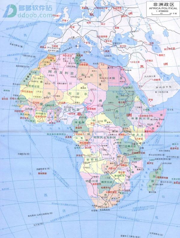 非洲地图高清中文版 大图版